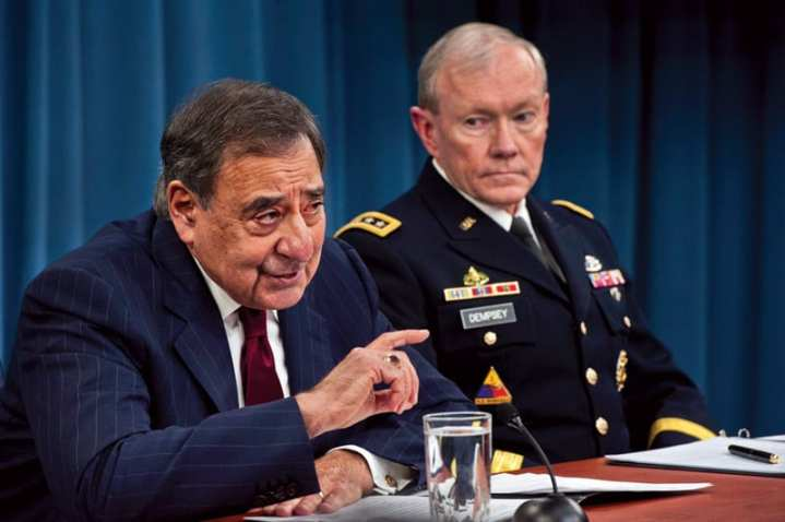 Secretary of Defense Leon Panetta and Chairman of the Joint Chiefs of Staff Gen. Martin Dempsey, brief the press at the Pentagon, Jan. 10, 2013. Panetta and Dempsey went in depth on the dramatic effects of sequestration should it take effect at the end of March. DoD photo by Erin A. Kirk-Cuomo