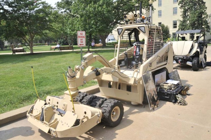 A Minotaur prototype sits on display in the Pentagon center courtyard, July 26, 2012, as part of a presentation by the Army Rapid Equipping Force. The Minotaur is a modified T110 Bobcat designed to detect improvised explosive devices before soldiers come into contact with them. Photo courtesy of Katie E. Nelson