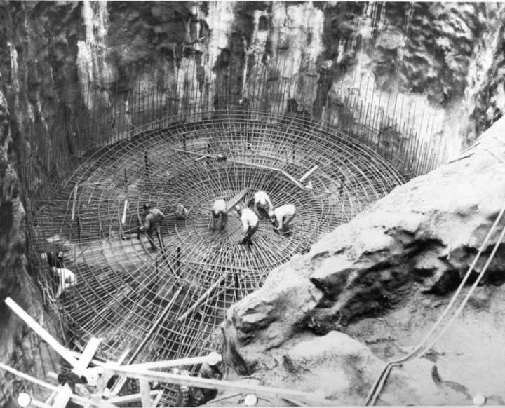 Steel workers install concrete reinforcing bar into an Atlas missile silo, Plattsburgh, N.Y., circa 1961. Photograph from CEBMCO Historical Summary, Plattsburgh Area Office, Atlas F Construction Directorate, Aug. 1, 1960-Oct. 31, 1962. Office of History, Military Files XVIII-18-3