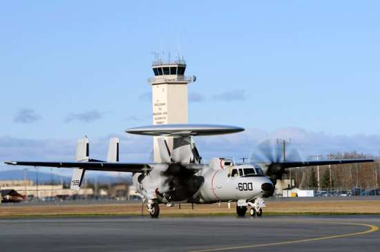 An E-2D Advanced Hawkeye assigned to  Air Test Evaluation Squadron (VX) 1, Patuxent River, Md., taxis down the runway during Red Flag-Alaska 13-1, Oct. 9, 2012, Eielson Air Force Base, Alaska. U.S. Air Force photo by Staff Sgt. Jim Araos