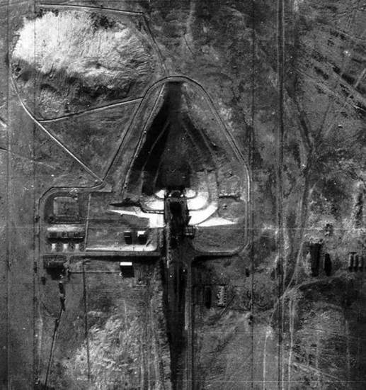 The Tyuratam SS-6 missile site in the central USSR, photographed by an early U-2 mission. U.S. Air Force photo