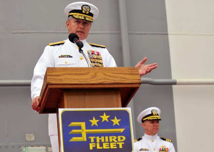 Vice Adm. Gerald R. Beaman delivers remarks after taking command during the U.S. 3rd Fleet change of command ceremony aboard the amphibious assault ship USS Makin Island (LHD 8), April 21, 2011. Beaman relieved Vice Adm. Richard W. Hunt as Commander, U.S. 3rd Fleet. U.S. Navy photo by Mass Communication Specialist 2nd Class Alan Gragg