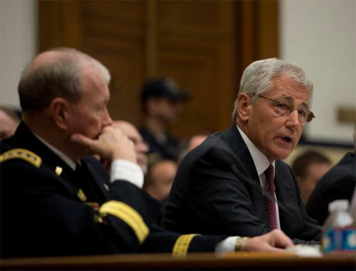 Gen.Dempsey, SECDEF Hagel, budget
