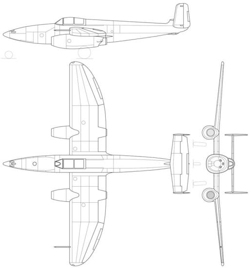 He 280 drawing