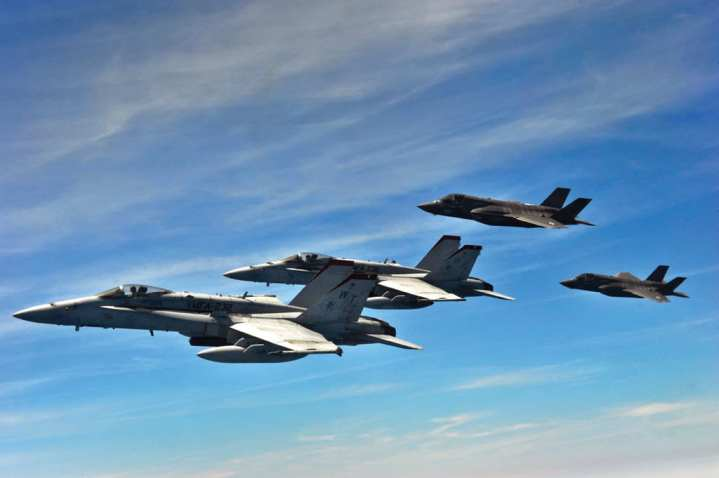F-35 Lightning IIs and F/A-18 Hornets