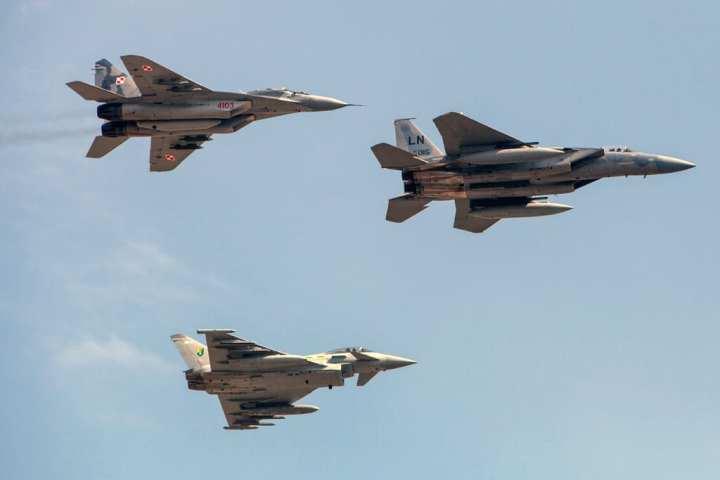 MiG-29, Typhoon, and F-15 Eagle