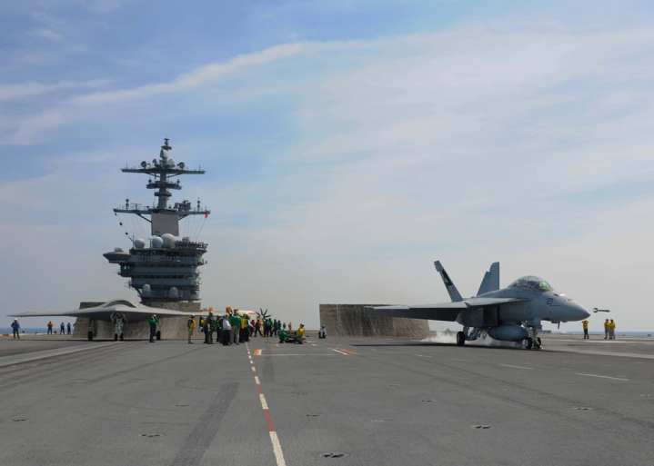 X-47B and Super Hornet