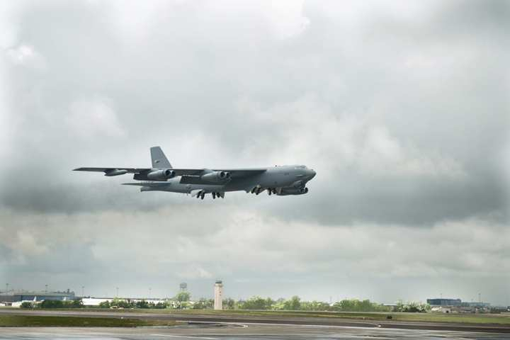 The first CONECT B-52 is delivered to Barksdale AFB. The Combat Network Communications Technology (CONECT) modification adds to the B-52 several communication data links, full-color LCD displays with real-time intelligence feeds overlaid on moving maps, a state-of-the-art computing network and the ability to re-target a weapon, or mission parameters, in flight. Boeing photo