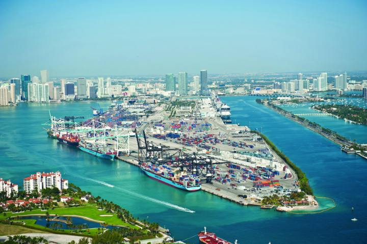 The Port of Miami as seen in 2012. The port is currently being deepened to 50 feet. Congress authorized the dredging project in 2007, but did not provide construction funds. Outside investors and state government are subsidizing the project, which the U.S. Army Corps of Engineers will help maintain. USACE photo