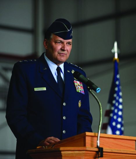 U.S. Air Force Lt. Gen. Bradley A. Heithold, Air Force Special Operations Command commander, speaks during the 352nd Special Operations Wing (SOW) activation ceremony March 23, 2015, on RAF Mildenhall, England. The 352nd SOW comprises more than 1,200 active-duty and civilian airmen performing missions on MC-130J Commando II and CV-22B Osprey aircraft for AFSOC. U.S. Air Force photo by Senior Airman Christine Griffiths