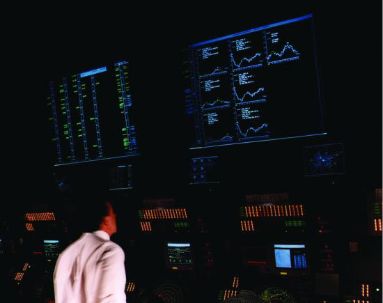 The Traffic Management Advisor (TMA) tool in operation at Denver TRACON (Terminal Radar Approach Control). The NASA-developed TMA has become the foundation for the Federal Aviation Administration's (FAA) time-based traffic flow management system. NASA image