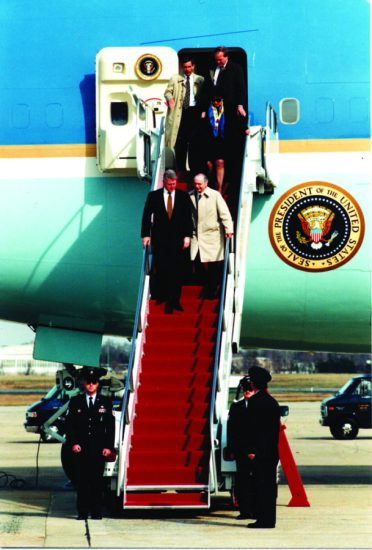 President Bill Clinton alights from Air Force One. The massive VC-25As are a continuing symbol of America's power and prestige in the world. U.S. Air Force photo by Master Sgt. Rick Corral