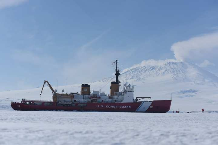 The Coast Guard Cutter Polar Star Sits In Fast Ice Front Of Mt Erebus McMurdo Sound Antarctica Jan 7 2016 Is Nations Only
