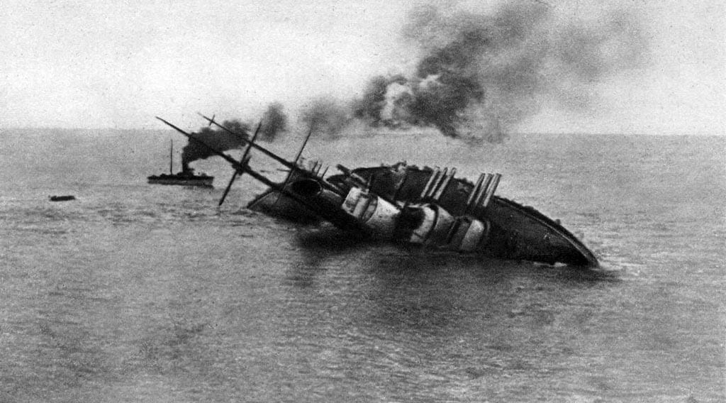 The sinking of the Austro- Hungarian battleship SMS Szent István on June 10, 1918, after being torpedoed by Italian navy Lt. Luigi Rizzo.