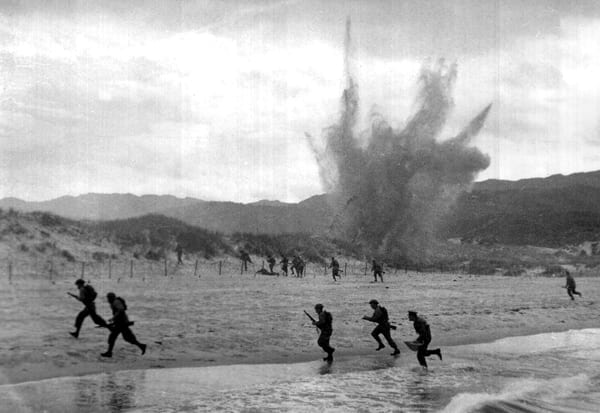 Rangers introduced to amphibious operations by the British, 1942. Training included artillery fire.