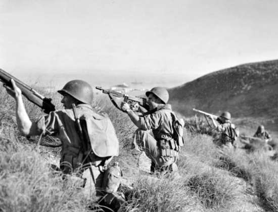 Rangers on the hills around Arzew, the route that they used to outflank and take the Batterie Superiere, here being used for training.
