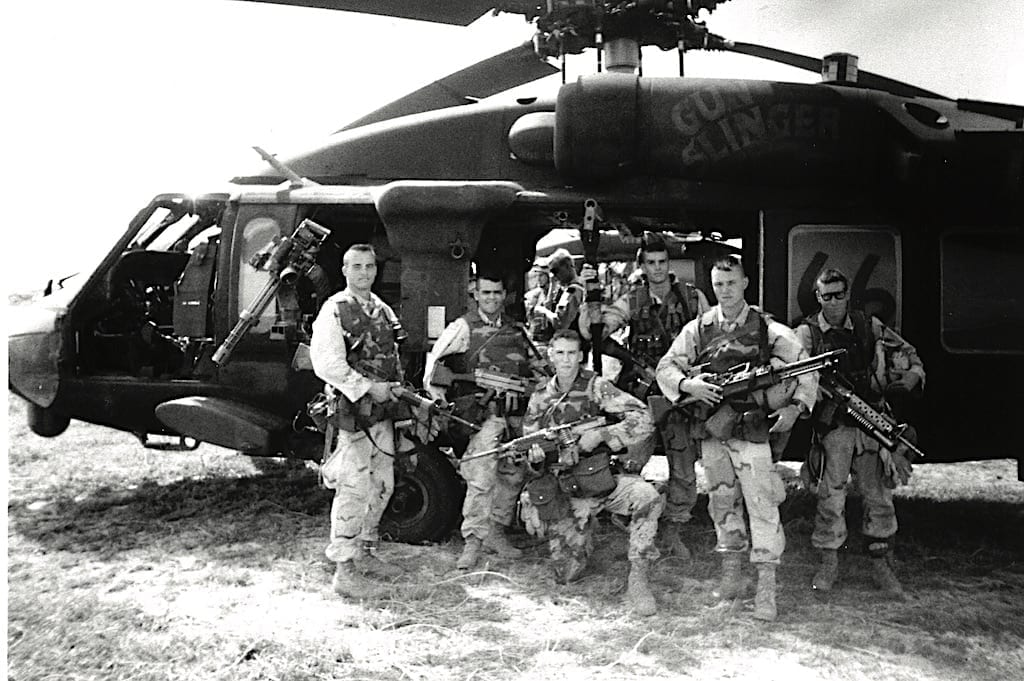 Rangers of Task Force Ranger in front of Black Hawk Super Six-Six in Somalia.