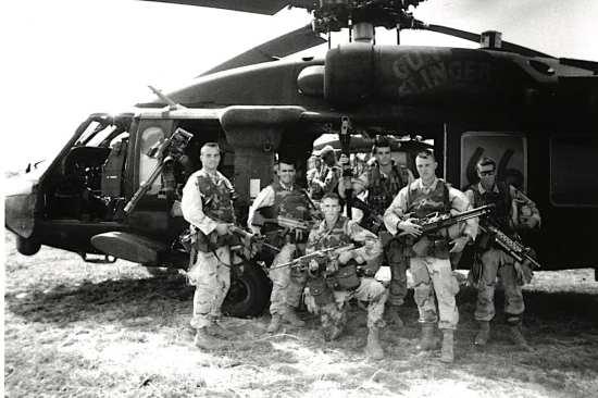 Rangers of Task Force Ranger in front of Black Hawk Super Six-Six in Somalia.