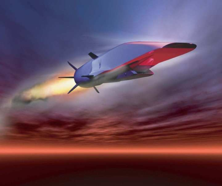 The X-51A Waverider completed its first powered hypersonic flight on 26 May 2010. It was designed to ride on its own shockwave and accelerate to about Mach 6. (U.S. Air Force graphic)