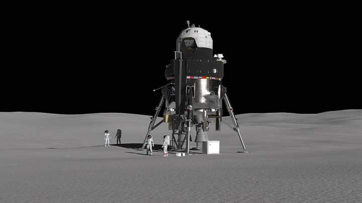 Crewed Lunar Lander on Moon