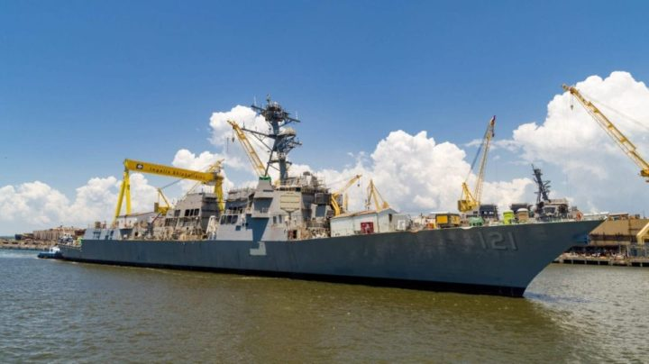 HII's Ingalls Shipbuilding division successfully launched the Arleigh Burke-class destroyer Frank E. Petersen Jr. (DDG 121) in July of 2018. HII photo
