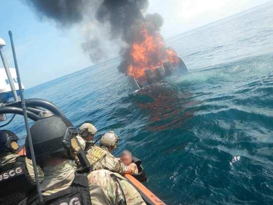 Burning go-fast boat