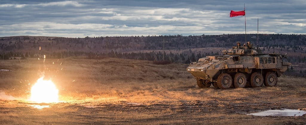 Members of the Canadian Armed Forces take part in the Infantry Officer Development Period (IODP) 1.2 Mechanized Infantry Platoon Commander Course at the 5th Canadian Division Support Base Gagetown training area, on November 8, 2018. Canadian Army image