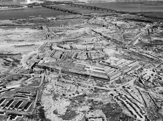 The War Department Office building, better known as the Pentagon, Arlington, Virginia, shown under construction, Jan. 17, 1942. The building was completed in just 17 months. Image from Office of the Secretary of Defense History Office