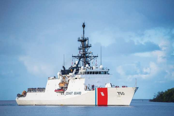 The U.S. Coast Guard Cutter Bertholfarrives at Joint Base Pearl Harbor-Hickam, Hawaii, in preparation for the Rim of the Pacific (RIMPAC) exercise 2018.