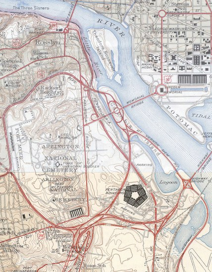 A U.S. Geological Survey topographical map of the area around the Pentagon in Virginia, soon after the road network was built. USGS photo via Wikimedia Commons