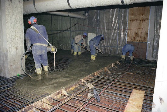 Renovation of the Pentagon-workers spread concrete