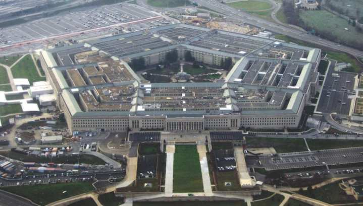 The Pentagon, headquarters of the U.S. Department of Defense, taken from an airplane in January 2008. Photo by David B. Gleason via Wikimedia Commons