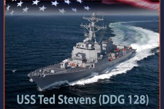 An artist rendering of the future Arleigh Burke-class guided-missile destroyer USS Ted Stevens DDG 128. U.S. Navy photo illustration/Released