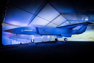 A model of the unmanned Boeing Airpower Teaming System was unveiled at the Australian International Airshow Feb. 27. The Boeing Airpower Teaming System will provide multi-mission support for air control missions. Boeing photo