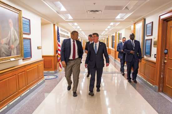 Then-Secretary of Defense Ash Carter speaks with Secretary of Transportation Anthony Foxx as he gives him a tour of the Pentagon during a visit July 1, 2016. DoD photo by Senior Master Sgt. Adrian Cadiz
