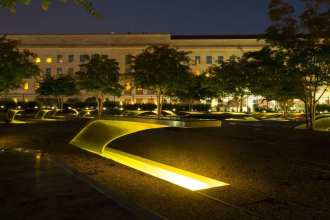 Lights illuminate memorial benches at the National 9/11 Pentagon Memorial Aug. 22, 2016. The memorial is dedicated to the 184 souls lost in the terrorist attack at the Pentagon on Sept. 11, 2001. DoD photo by EJ Hersom