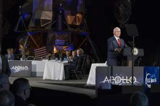 Vice President Mike Pence speaks about NASA's mandate to return American astronauts to the Moon and on to Mars at the fifth meeting of the National Space Council March 26, 2019, at the U.S. Space & Rocket Center in Huntsville, Alabama. Credits: NASA