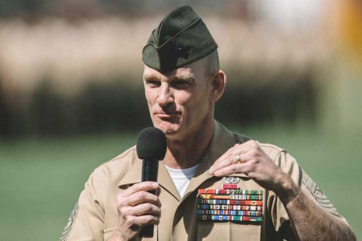 U.S. Marine Sgt. Maj Troy E. Black addresses Marines, Sailors and guests during the 1st MLG Relief and Appointment Ceremony aboard Camp Pendleton, Calif., April 7, 2017. U.S. Marine Corps Photo by Sgt. Zabolotniy, Camp Pendleton/Released