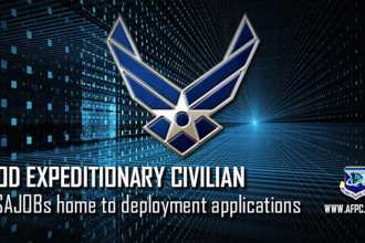 Civilian Airmen who wish to volunteer for a deployment now have the benefit of using USAJOBs to submit their applications, which enhances their ability to pursue expeditionary civilian opportunities. (U.S. Air Force graphic by Kat Bailey