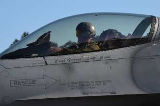 An F-16C Fighting Falcon assigned to the 93rd Fighter Squadron, Homestead Air Reserve Base, Fla., taxis during a Flying Training Deployment at Royal Air Force Lakenheath, England, May 16, 2019. The 93rd FS deployment to RAF Lakenheath demonstrates the U.S. Air Force's ability to integrate a total force team into U.S. Air Forces in Europe-Air Forces Africa training and operations. (U.S. Air Force photo by Airman 1st Class Madeline Herzog)