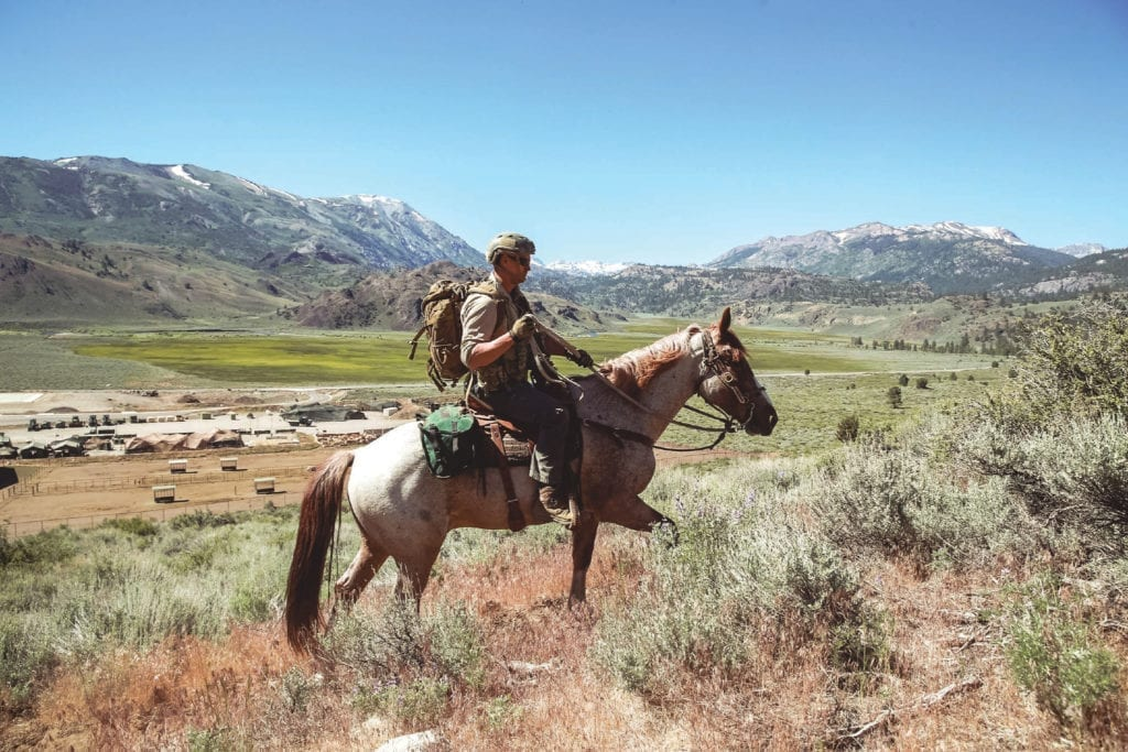 A Critical Skills Operator with 1st Marine Raider Battalion participates in horsemanship training as a part of Special Operations Forces Horsemanship Course aboard Marine Corps Mountain Warfare Training Center, Bridgeport, Calif., June 20, 2018. The purpose of advanced horsemanship course is to teach the Special Operations Forces (SOF) personnel the necessary skills to enable them to ride horses, load pack animals, and maintain animals for military applications in remote and dangerous environments