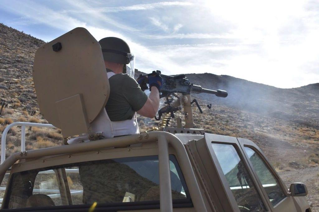 The Delta-P suppressor at work on a .50 caliber machine gun
