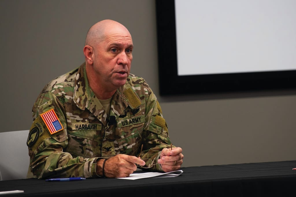 Army Col. Cary Harbaugh, U.S. Special Operations Command Warrior Games 2019 director, briefs local media on the 2019 DoD Warrior Games in Tampa, Fla., Aug. 6, 2018. The games, scheduled from June 21-30, introduce wounded, ill and injured service members and veterans to paralympic-style sports. More than 300 athletes will compete in 14 events located in downtown Tampa and surrounding areas