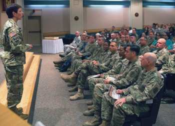 Maj. Gen. Barbara Holcomb, chief of the U.S. Army Nurse Corps speaks to medical personnel during a celebration of the 116th birthday of the Army Nurse Corps in the Brooke Army Medical Center auditorium at Joint Base San Antonio-Fort Sam Houston Feb. 2, 2017.
