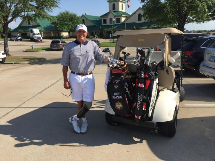 PGA Golf Pro Trey Hansen prepares for a golf tournament.