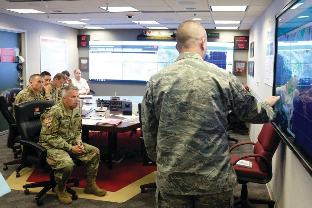 Lt. Gen. Todd T. Semonite, 54th U.S. Army chief of engineers and commanding general of the U.S. Army Corps of Engineers, assessing effects of Hurricane Florence for damage in North Carolina during his visit Sept. 19. The U.S. Army Corps of Engineers (USACE) was working in partnership with the local, state, and federal response for Hurricane Florence.