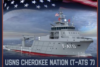 An artist rendering of the future USNS Cherokee Nation. (U.S. Navy photo illustration by Mass Communication Specialist 1st Class Paul L. Archer/Released)