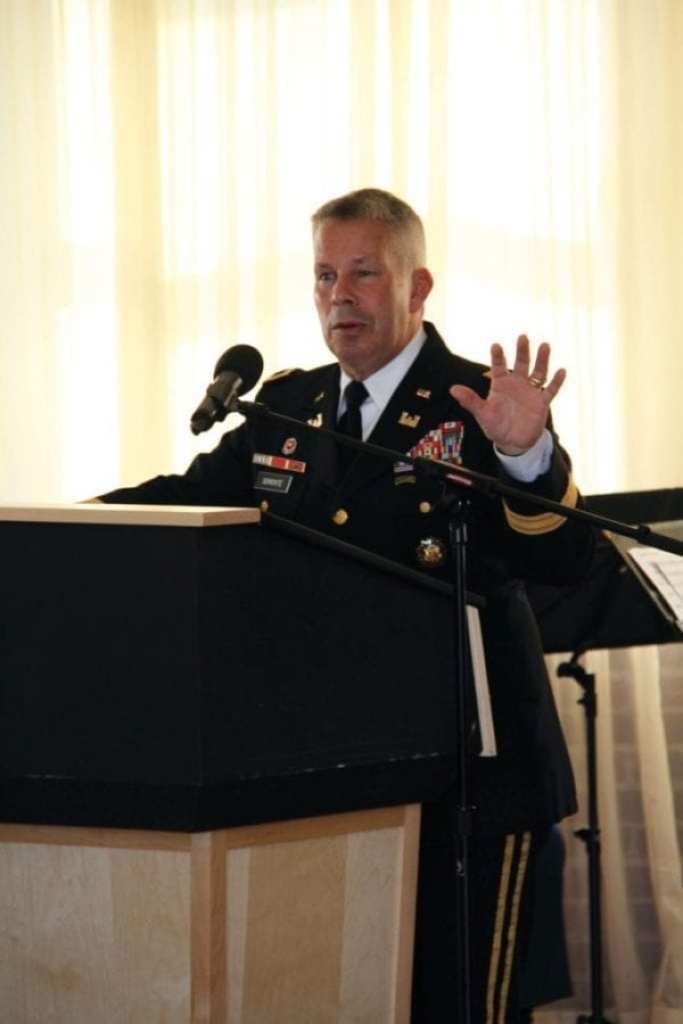 Lt. Gen. Todd Semonite speaks at the U.S. Army Corps of Engineers North Atlantic Division change-of-command ceremony at the Fort Hamilton Community Club in Brooklyn, New York, on July 19, 2018.