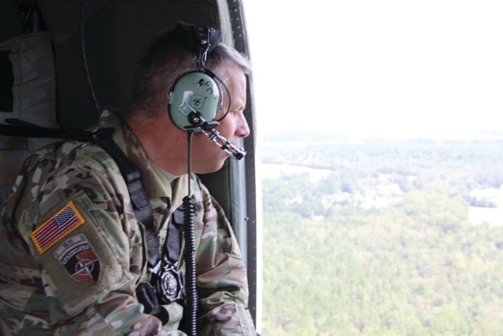 Lt. Gen. Todd T. Semonite, 54th U.S. Army Chief of Engineers and Commanding General of the U.S. Army Corps of Engineers assessing impacts of the Boiling Springs Lake breach on the infrastructure of the Military Ocean Terminal Sunny Point and mitigation for any damage in North Carolina during his visit Sept. 19. The U.S. Army Corps of Engineers (USACE) is working in partnership with the local, state, and federal response for hurricane Florence. The Corps has more than 300 personnel who are providing support both onsite and remotely, coordinating with local, state and FEMA partners. Our number one priority is the life, health and safety of all those impacted by the storm.