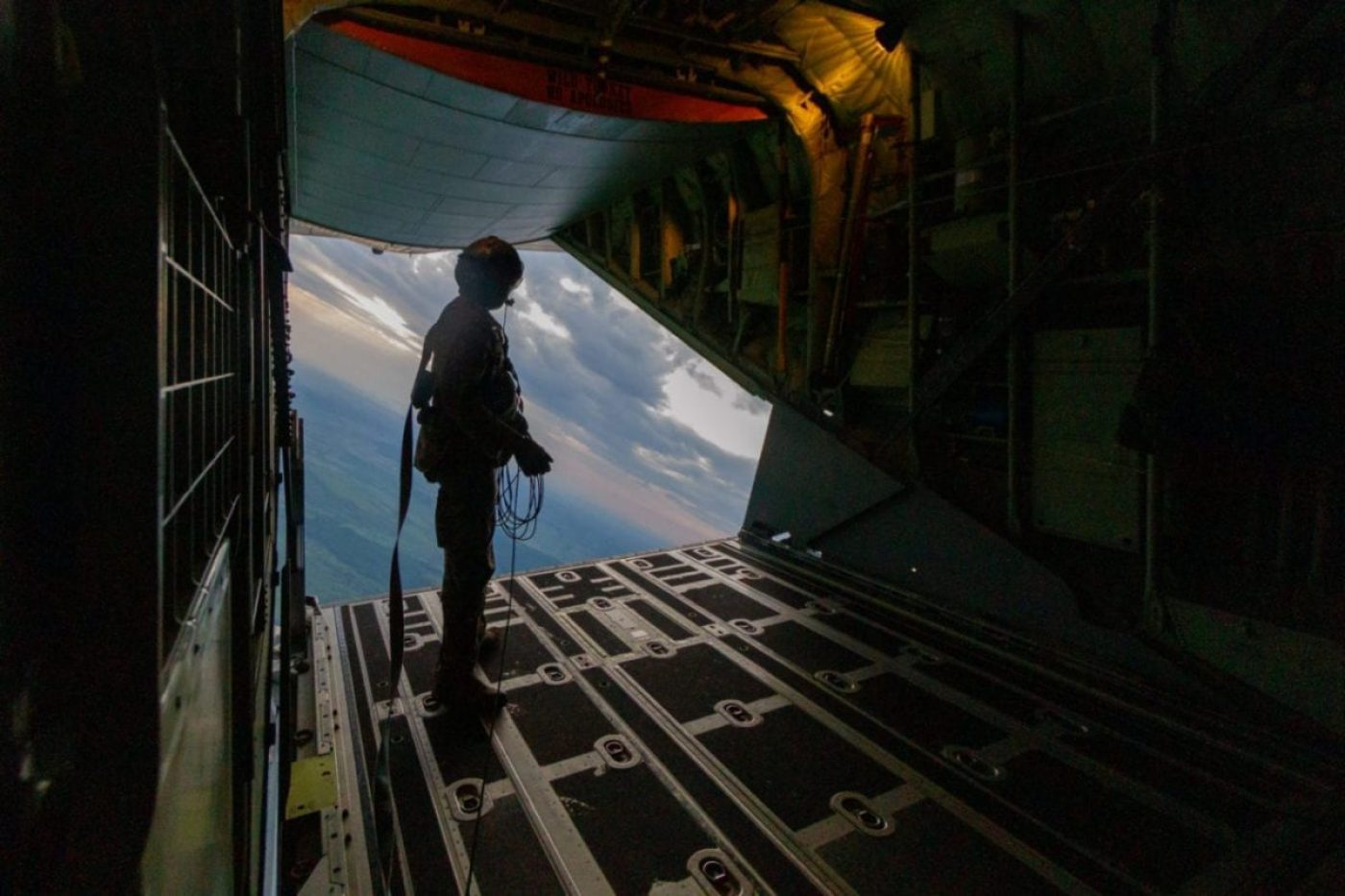 A U.S. Air Force MC-130J crew chief assigned to the 352d Special Operations Wing checks the aircraft ramp before U.S. Army Green Berets assigned to 19th Special Forces Group (Airborne), Colorado Army National Guard, conduct an airborne operation over Calarasi, Romania June 11, 2019 as part of Trojan Footprint. Trojan Footprint is an annual U.S. Special Operations Command Europe-led exercise that incorporates Allied and partner special operations forces, this year's exercise brought together 1400 SOF from 10 nations for training over land, sea and air across Bulgaria, Hungary, Romania and the Black Sea. (U.S. Army National Guard photo by Sgt. Ashley Low)
